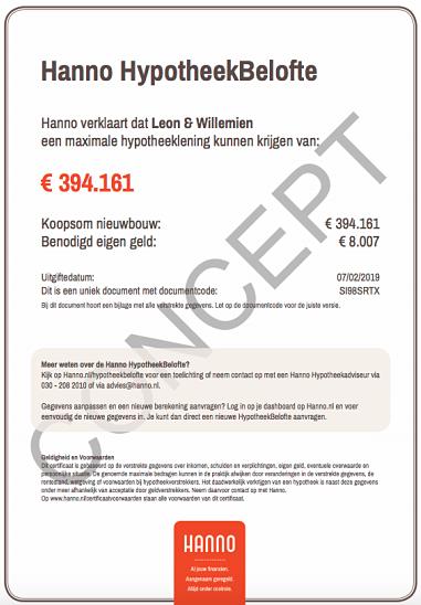 Hanno Hypotheekbelofte voorbeeld